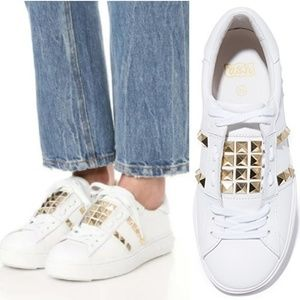 Ash | Rock Stud White Leather Party Sneakers | NIB